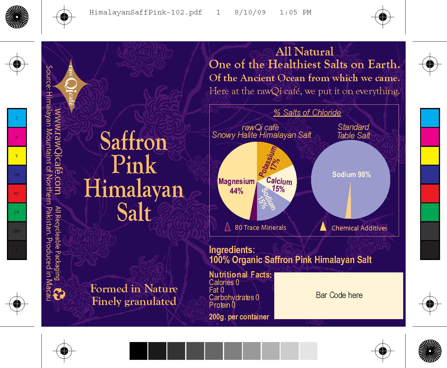 Saffron Pink Himalayan Salt label